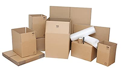 "Removal Boxes Pack - 25 strong Lightning Branded Double Wall Cardboard Boxes & Packing Supplies Perfect For 2-Bed or Small House Move. Top Quality Moving Kit - Contains 5 x Large Removal Boxes 18""x18""x20"", 10 x Standard Moving House Boxes 18""x12""x12"", 5 x"