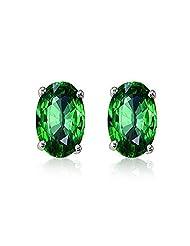 92.5 Elegant Silver Green Elegant Oval Stud Earrings Made With Swarovski Zirconia By Mahi ER3102003Gre