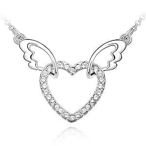 """Collier Femme """"Coeur d'Ange"""" - Cristal - Blanc - 45 cm"""