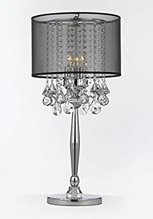 Silver mist 3 light chrome crystal table lamp with black for B q living room lights
