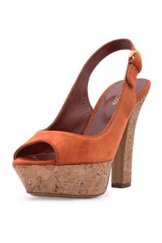 Sergio Rossi Slingback Pumps PEEP TOES, Color: Orange