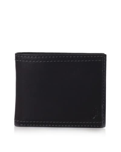 J.Campbell Los Angeles Men's Leather Double-Stitch with Embossed Logo Trifold Wallet, Black, One Siz...