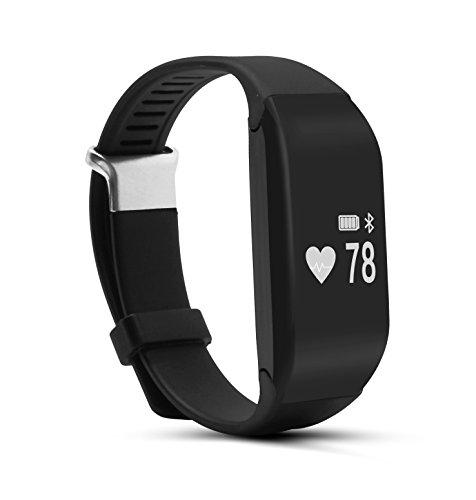 Corprit Bracelet bande intelligente moniteur de fréquence cardiaque Activité Fitness Tracker Wristband pour iPhone Android (Noir)