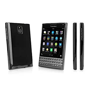 BlackBerry Passport Case, BoxWave® [Tuxedo SuitUp Case] Glossy Black TPU Gel Skin Case for BlackBerry Passport