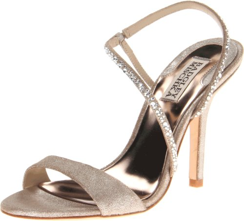 Get instant elegance in this regal style by Badgley Mischka. The Viola showcases a crackled leather in a versatile silver shade. Gorgeous rhinestones sweep over the simple strap design. Delivering a lift is a 3 3/4 inch stiletto heel.