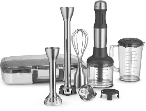 KitchenAid 5-Speed Hand Blender with Interchangeable Bell Blade & Removable Pan Guard Stainless Steel – Exclusive Offer image