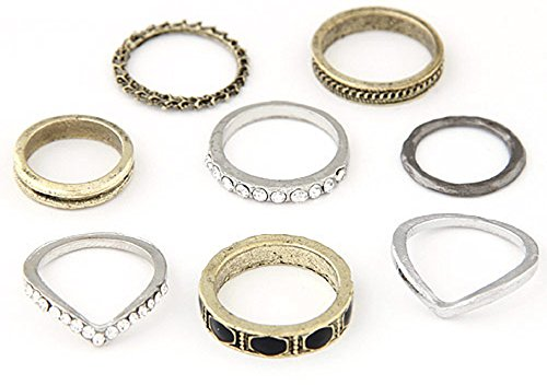 Cinderella Collection By Shining Diva Metal Golden & Silver Set Of 8 Finger Ring For Girls