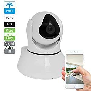 R-Tech CA-IP-BV101-W Plug & Play 720p HD Wireless Pan/Tilt 2-Way Audio IP Camera with Night Vision (White)