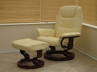 Restwell Napoli Recliner Cream Massage Heat Chair And Foot Stool