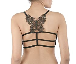 Spangel Fashion Black Butterfly Lace Bralet Cum T-Shirt Bra Padded With Soft Pads FREE SIZE