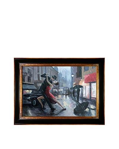 Adrian Borda Life Is A Dance in The Rain Framed Hand Painted Oil On Canvas, Multi, 33″ x 45″
