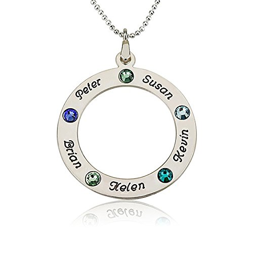 Sterling Silver Couple'S Circle Of Love Pendant With Birthstones - Choose Any Name (20 Inches)