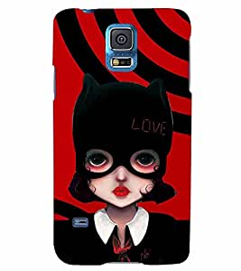 PrintVisa Stylish Cool Girl Cat 3D Hard Polycarbonate Designer Back Case Cover for Samsung Galaxy S5