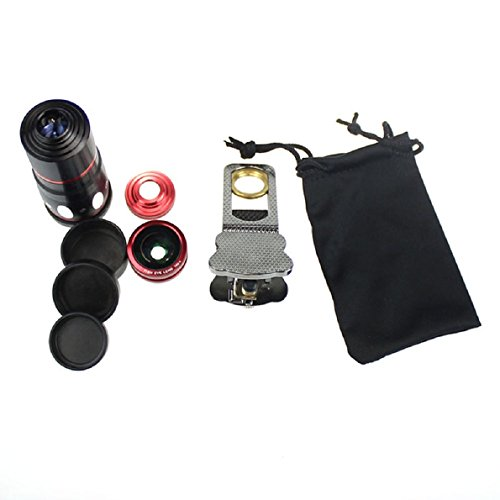 Aokdis (Tm) Hot Selling Universal Clip 4In1 Fish Eye Macro Wide Angle Lens For Iphone 5S 5C 4 4S Gray