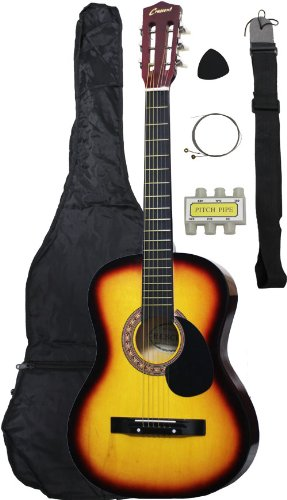 38-Inch Beginner Acoustic Guitar Starter Pack with Gig Bag, Strap, Pitch Pipe, and Pick – Sunburst Dreadnought