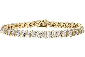 Naava 1 Carat Diamond Pave Setting Bracelet in 9ct Yellow Gold
