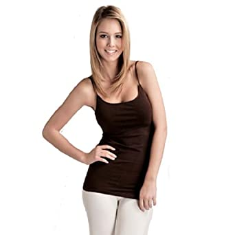 Plain Long Spaghetti Strap Tank Top Camis Basic Camisole Cotton (Small, Cinnamon/Brown)