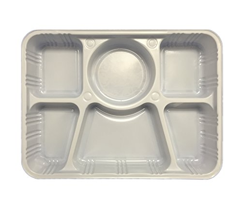 Quality Disposable Plastic Plates With 6 Compartments By Ekarro - Pack of 50 Pieces (Foam Dinner Trays compare prices)