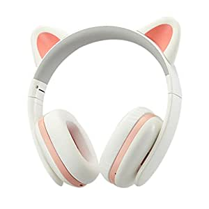 TopSun Music Headset Headphone Creative Cat Ear Stereo Over-ear Game Gaming Bass Headset Noise Canceling Headband Earphone for ipad, PC, iphone and Android Smartphones (White, Wired)