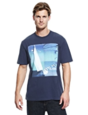 Blue Harbour Pure Cotton Photo Montage Print T-Shirt