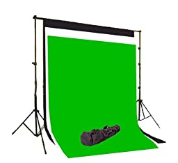CowboyStudio Photography 6 x 9 ft Black, White & Chromakey Green Muslin Backdrops with Support System and Carry Bag
