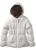 Amy Byer Girls 7-16 Solid Jacket Reversing to Leopard Print, Vanilla, 16