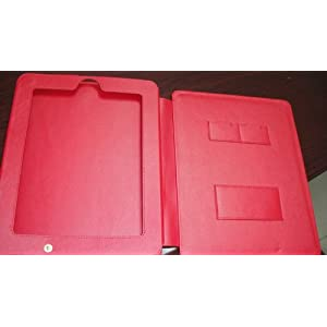 Deluxe Leather multi-view Case/Folio with Stand Feature for Apple iPad 16GB, 32GB, 64GB WiFi + Wifi 3G (Red)