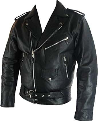 Unicorn Hommes classique de style Biker Brando Réel en cuir Veste # B2 (7XL)