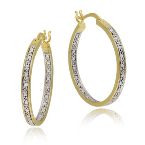 18k Yellow Gold Plated Sterling Silver Diamond-Accent Hoop Earrings (1.0