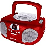 Groov-e GVPS713RD - Boombox Portable CD Player with Radio - Red
