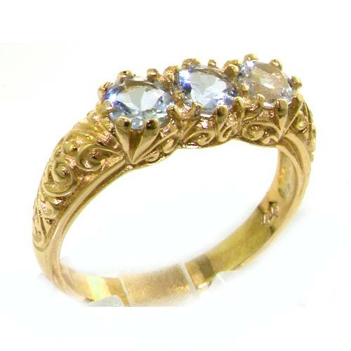 Luxury Solid Yellow Gold Natural Aquamarine Art Nouveau Carved Trilogy Ring - Size 8.75 - Finger Sizes 5 to 12 Available