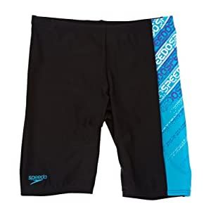 Speedo Boys Endurance 10 Logo Panel Jammer - Black and Turquoise Size 32