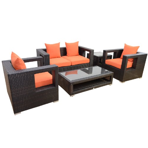 Outsunny 5-Piece Outdoor PE Rattan Wicker Sectional Loveseat Sofa Set photo
