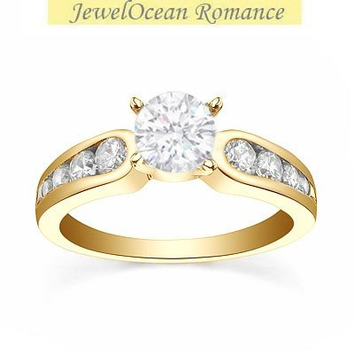 0.58 Carat Diamond Engagement Ring with Round cut Diamond on 14K Yellow gold