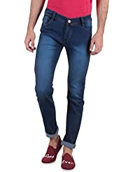Routeen Dark Blue Low Rise Slim Fit Cotton Jeans For Men