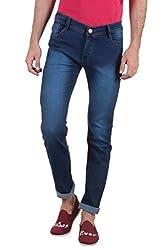 Routeen Dark Blue Low Rise Slim Fit Cotton Jeans for Men