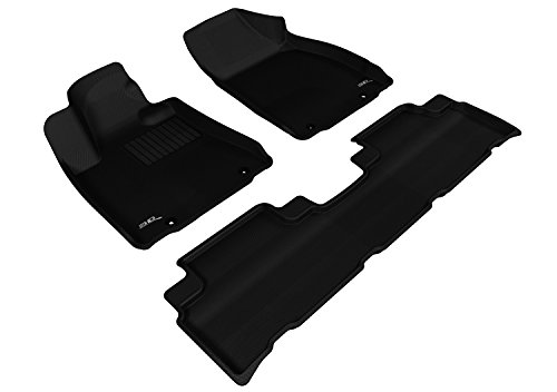 3D MAXpider Complete Set Custom Fit All-Weather Floor Mat for Select Toyota Sequoia Models Black Kagu Rubber