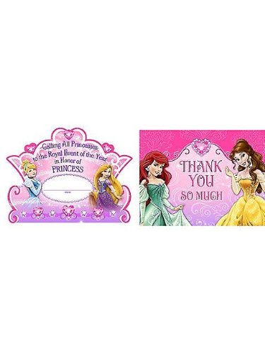 Disney Princess Dream Party Invitations &Thank-You Postcards (8 each)