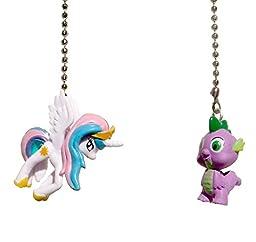 Set of 2 My Little Pony Decorative Ceiling Fan Light Pulls(Princess Celestia and Spike Dragon)