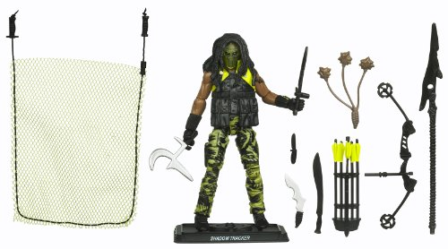 "Hasbro Year 2010 G.I. Joe Mission ""The Pursuit Of Cobra Jungle Assault"" Series 4 Inch Tall Action Figure - Cobra Jungle Tracker Shadow Tracker With Removable Vest, Quiver With Arrows, Compound Bow, Arrow, Spear, Bolo, Machete, Dagger, Mambele, Kukri, Knif"