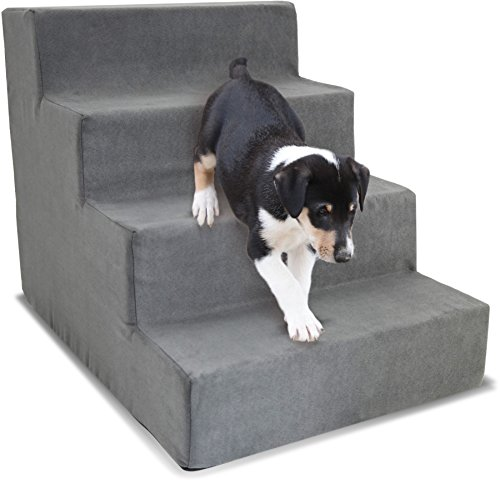 Restology by Precious Tails Pet Gray High Density Foam Stairs with 4-Steps & Machine Washable Zipper Removable MicroSuede Cover Medium