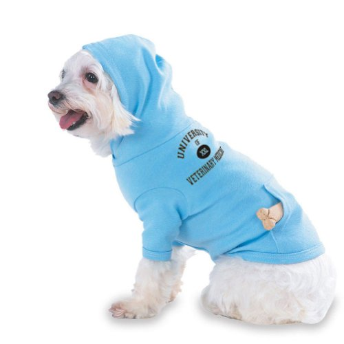 UNIVERSITY OF XXL VETERINARY MEDICINE Hooded (Hoody) T-Shirt with pocket for your Dog or Cat MEDIUM Lt Blue