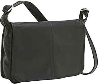 Le Donne Leather Distressed Leather Laptop Messenger,One Size,Black