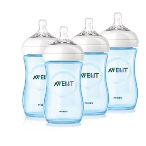 Philips Avent 4 Pack Natural Polypropylene Bpa Free Bottles, Blue, 9 Ounce