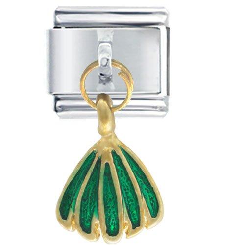 Golden Italian Charm Bracelet Dangle Green Skirt