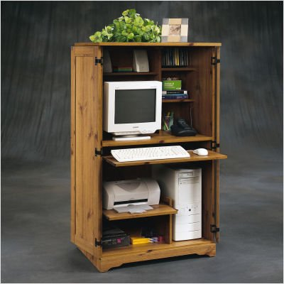 Buy Low Price Comfortable Sugar Creek Computer Armoire in Spiced Pine (B003UIQ3SW)