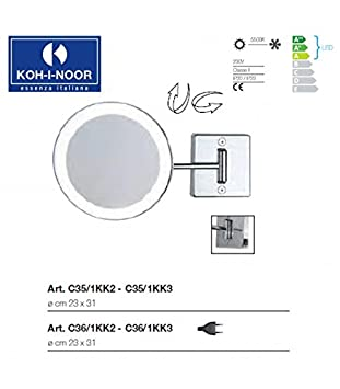 Koh-I-Noor C36/1KK2 Specchio Ingranditore X 2 Discolo LED, Cromo