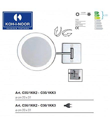 Koh-I-Noor C35/1KK3 Specchio Ingranditore X 3 Discolo LED, Cromo