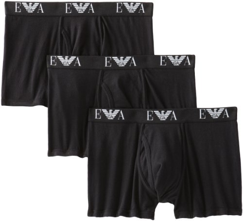 Emporio Armani Men's 3-Pack Trunk, Black, Large