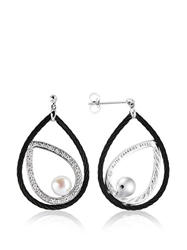 Charriol Women's Celtic Noir 18K White Gold, Black Stainless Steel, Diamond & Cultured Pearl Drop Earrings